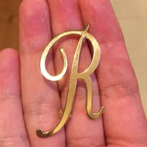 Initial R gold plated brooch